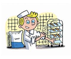 Le petit boulanger dans son atelier avec sa farine et ses baguettes de pain